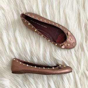 Marc Jacobs Rose Gold Leather Mouse Ballet Flats